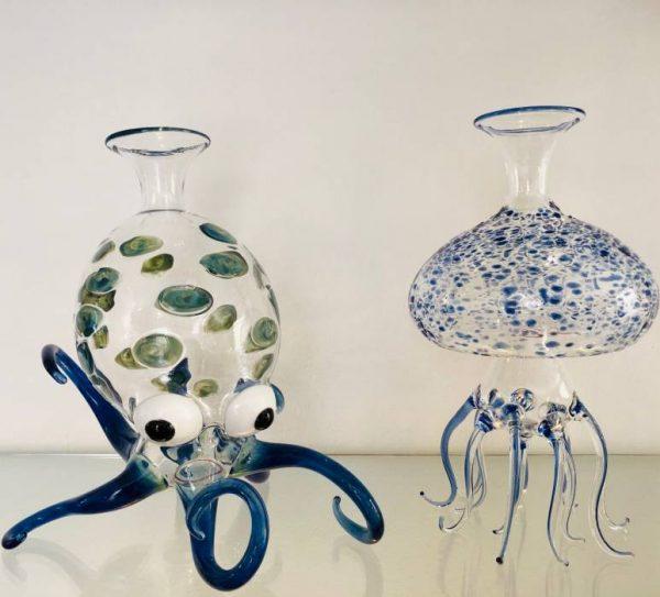 Decanter Medusa-blu Massimo Lunardon-coppia